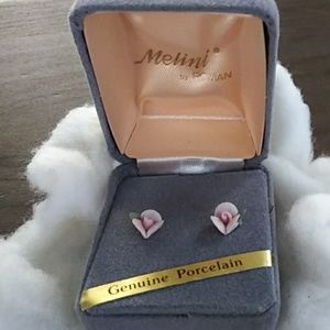 Melini by Roman porcelain stud rose earrings